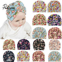 Baby Turban Hat with Bow Children Hat Cotton Blend Newborn Colorful Floral Beanie Top Knot Kids Photo Props Baby Shower Gift(China)
