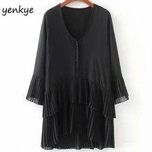 Women Pleated Patchwork Black Summer Autumn Dress Female V Neck Loose-fitting  Sleeve Plus Size 9d604e474158