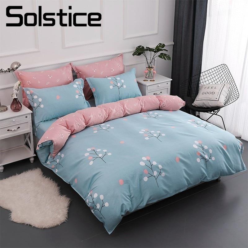 Solstice Textile de Maison Simple Arbre Rose Bleu Housse de Couette Taies D'oreiller Drap de Lit 100% Coton Literie Ensembles Fille Bébé Enfant Adolescent linge