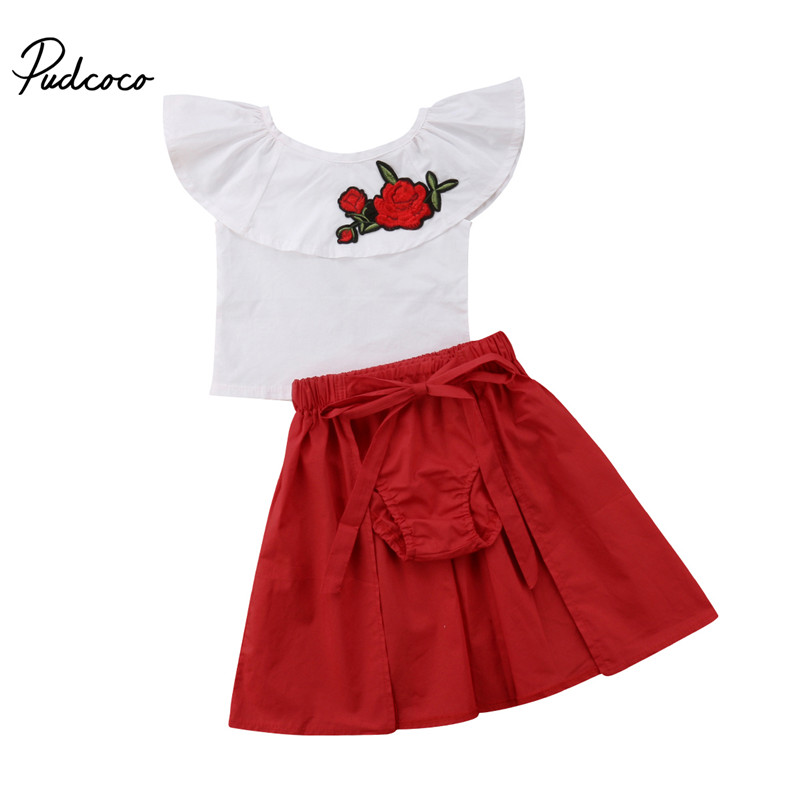 Toddler Baby Girls Summer Clothing Set Floral T-Shirt Tops+Shorts Pants+Skirt Outfits Kids Children Boutique Clothes 1-6T
