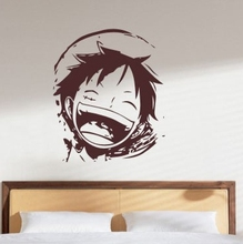 Creative wall art of kids rooms Japanese anime One Piece Luffy picture wall stickers home decoration living room T502