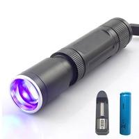 2 Leds Purple White UV Light Zoomable Ultra Violet Flashlight Flash Light Blacklight Ultraviolet Torch Lamp
