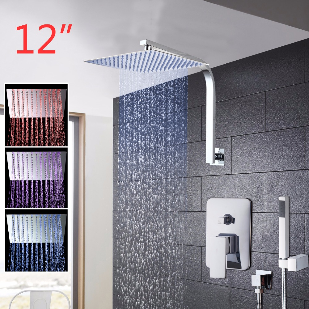 12 Inch LED Rainfall Bathroom Shower Kit Hand Shower Shower Head Wall Mounted Square Style Chrome Brass Waterfall Shower Set good quality wall mounted square style brass waterfall shower set new bathroom shower with handle rainfall shower head