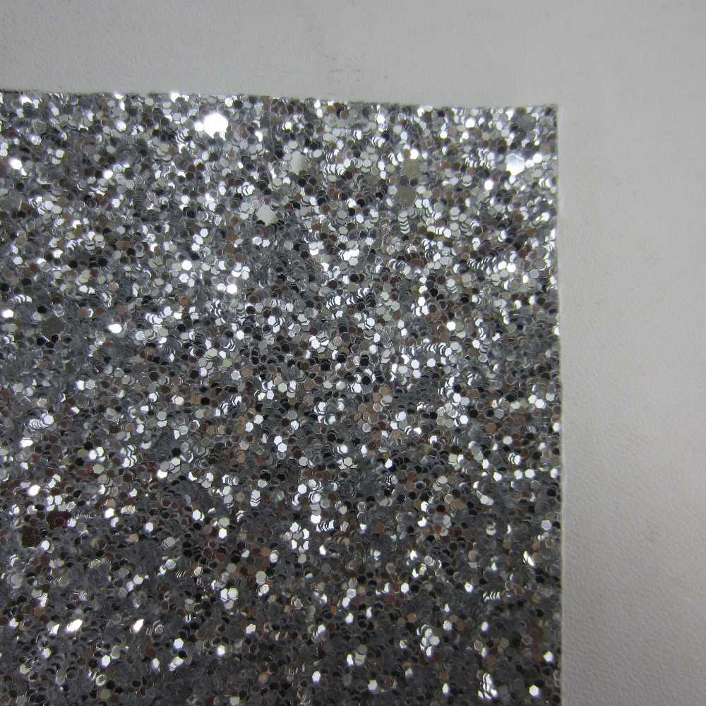 30 cm X 134 cm Preto Branco Prata Chunky Glitter Tecido de couro do PLUTÔNIO Couro sintético para mostra de casamento decoração DIY CN226