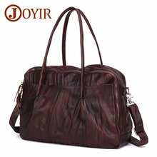 JOYIR Genuine Leather Mens Travel Bag Vintage Cow Large Weekend Duffel Business Luggage Shoulder Handbags 6425