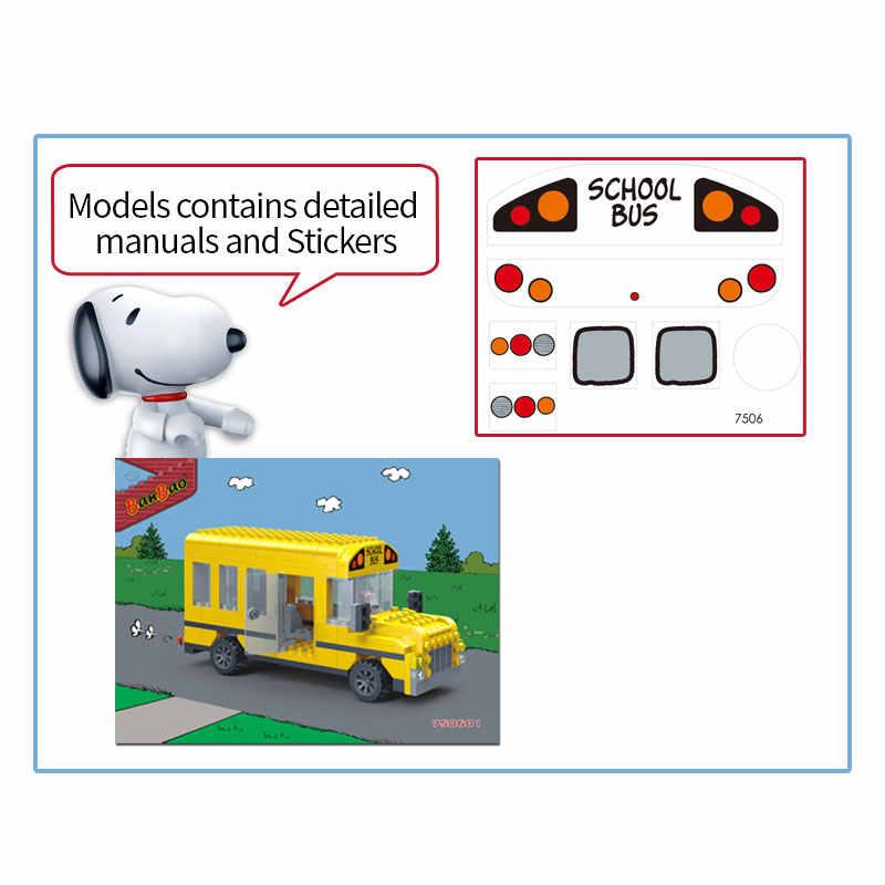 BanBao 7506 Горячие IP Snoopy арахис DIY школьные автобусы автомобили пластиковые строительные блоки Обучающие модели DIY Кирпичи совместимы со всеми марками