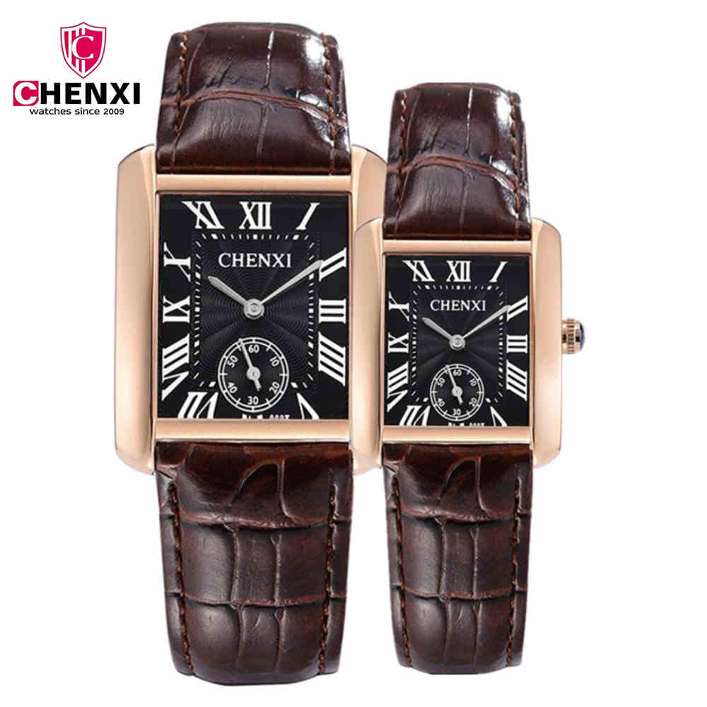 цены  CHENXI Fashion Women Casual Brand Quartz Watch Gold Square Small Dial Work Watches For Men With Quality Leather strap PENGNATATE