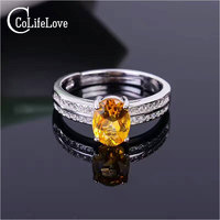 Fashion Solid 925 silver citrine ring 6mm*8mm natural citrine gemstone silver ring classic silver citrine ring for wedding