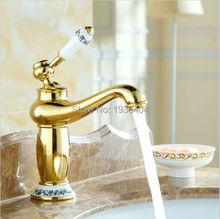 Бассейна Faucets золотое покрытие медь смесители одной ручкой ванной античная смесители G1036