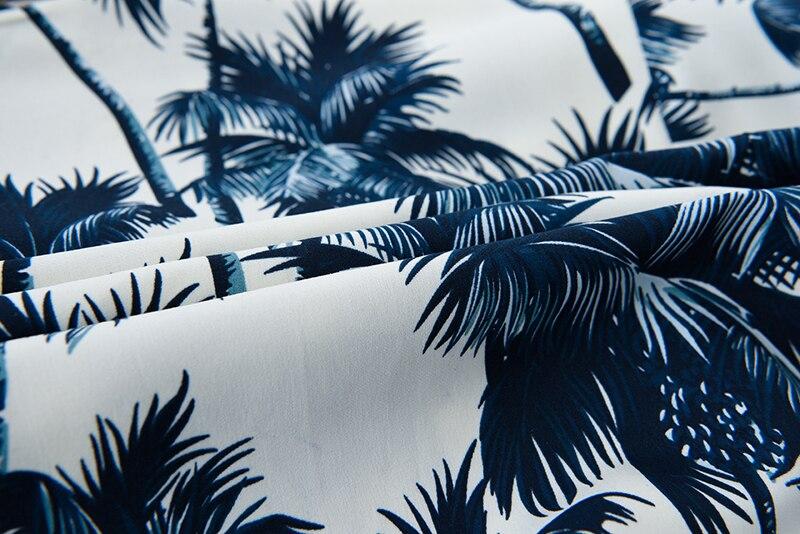 /árbol del algod/ón Hawaiano de Palma Impreso Camisa de la Playa de los Hombres de Negro