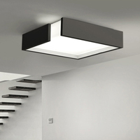 Quadrado de controle remoto moderno painel led superfície montado lâmpada do teto branco/preto banheiro iluminação AC110 240V luminarias parágrafo|ceiling lamp|surface mounted|ceiling mounted lamps -