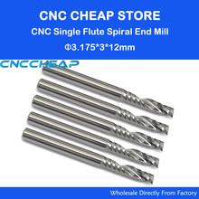 10pc 3.175mm SHK 3mm CED Single Flute Bit Carbide Engraving Cutters Wood Cutting Tools Blade for Carving Milling MDF acrylic PVC