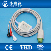 Drager medical ecg cable with 3leads snap AHA,10pins
