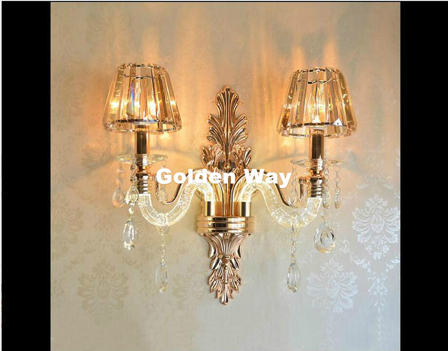 K9 Crystal Wall Lamps Elegant European Wall Light with Crystal Shades Wall Sconces for Home Living Bedroom Dining Room Lighting