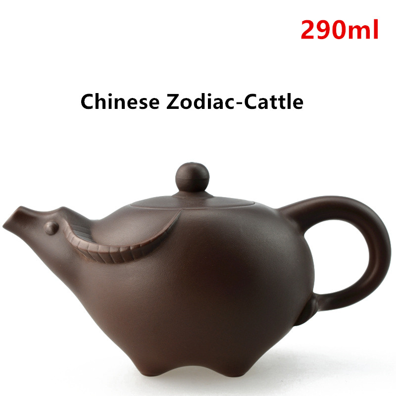 Purple Clay Tea pot Chinese Zodiac Ceramic Teapot Drinkware KungFu Tools Cattle Zisha Tea Pot Set 290ml Tea Ceremony Gift-YX0309