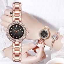 Women Crystal Design Watch Bracelet Set Female Jewelry Set Luxury Diamond Rose Gold Watch Fashion Starry Quartz Watch Lady Gift attractive 2017 new design gold and sliver lady diamond bracelet watch mirror luxury quartz alloy watch high quality my 10