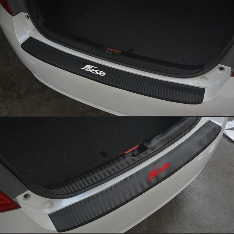 PU leder Carbon faser Styling Nach schutz Hinten Stoßstange Stamm Schutz Platte Auto Zubehör Für Ford Fiesta 2009-2017