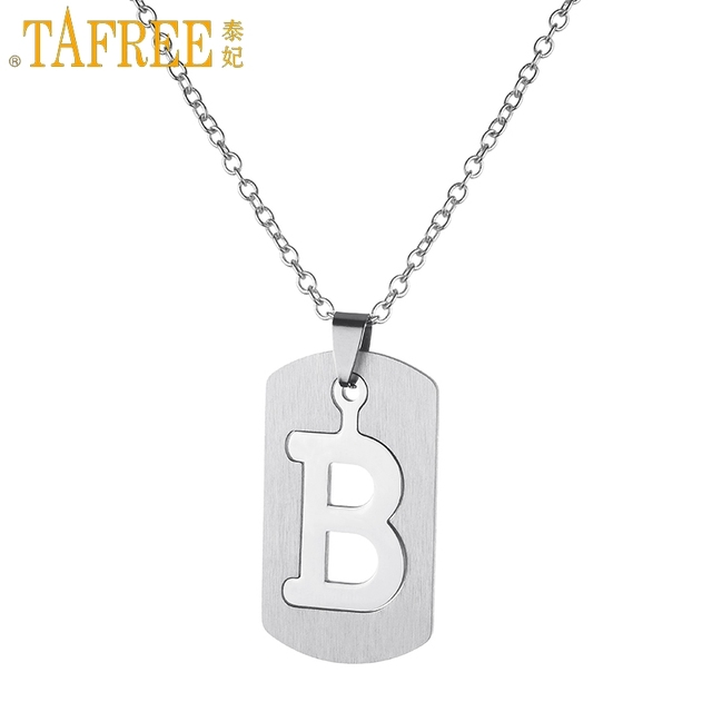 tafree geometric rectangle pendant removable english letter b necklace stainless steel no fade hiphop