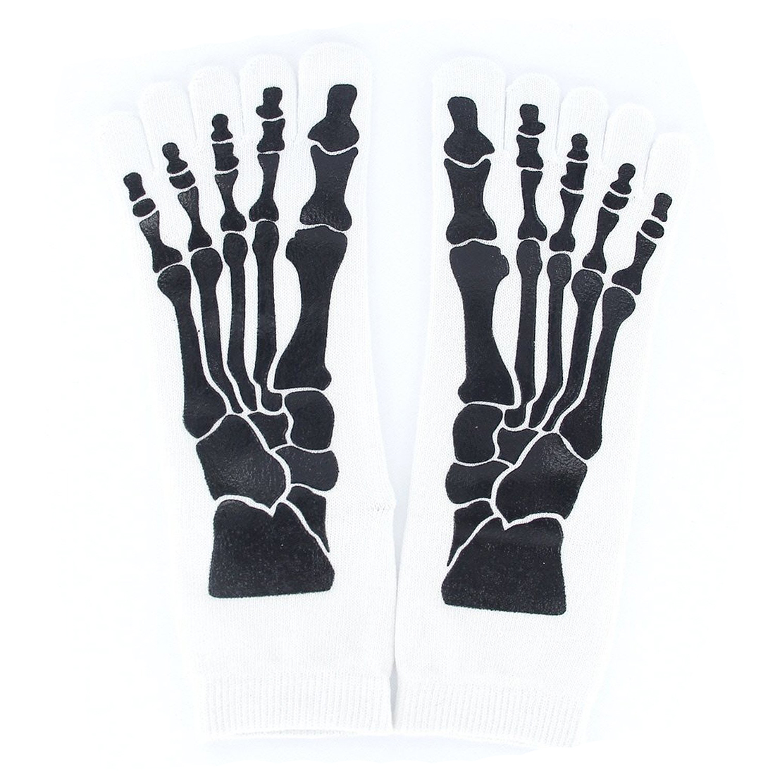 MYTL-Men's 5-Toe Socks for Flip Flops Skull Skeleton Pattern White