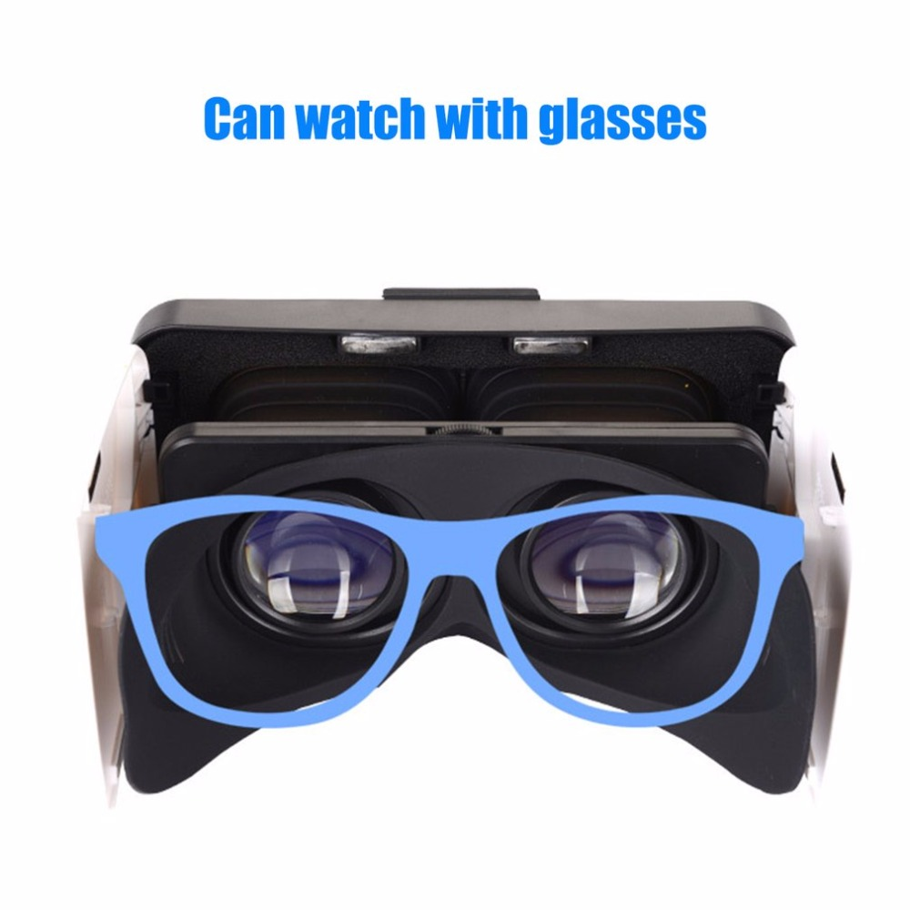 VR Box 3D Headset Virtual Reality Goggles Foldable VR Glasses For Smartphones 4.7-6.0″ Googles Cardboard Helmet 3D Video Games