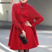 Зимние пальто и верхняя одежда для женщин Плюс Размер красное шерстяное пальто однобортные Свободные пиджаки Повседневный женский шерстяной и смешанный
