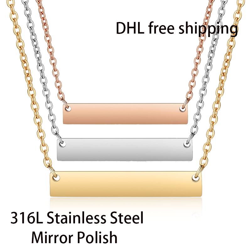 DHL Free Shipping 300pcs lot 316L Stainless Steel Mirror Polish Bar Necklace Fashion Unisex Choker Necklace