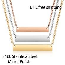 Collar de barra de acero inoxidable con espejo para mujer, gargantilla de 45cm de longitud y 18 pulgadas, 300 unidades por lote, envío gratuito con DHL