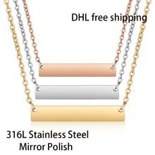 Бесплатная доставка DHL, 300 шт./лот, 316L, зеркальное полированное ожерелье из нержавеющей стали, модное ожерелье чокер унисекс, длина 45 см, 18 дюймов