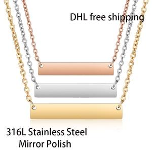 Image 1 - DHL משלוח חינם 300 יח\חבילה 316L נירוסטה מראה פולני בר שרשרת אופנה יוניסקס קולר שרשרת 45cm אורך 18 אינץ
