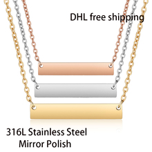 DHL Free Shipping 300pcs/lot 316L Stainless Steel Mirror Polish Bar Necklace Fashion Unisex Choker Necklace 45cm Length 18 inch