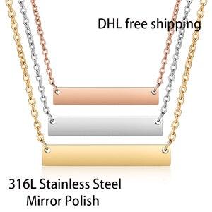 Image 1 - DHL Frete Grátis 300 pçs/lote 316L Espelho Polonês de Aço Inoxidável Bar Colar de Moda Unissex Colar Gargantilha 45cm Comprimento 18 polegadas