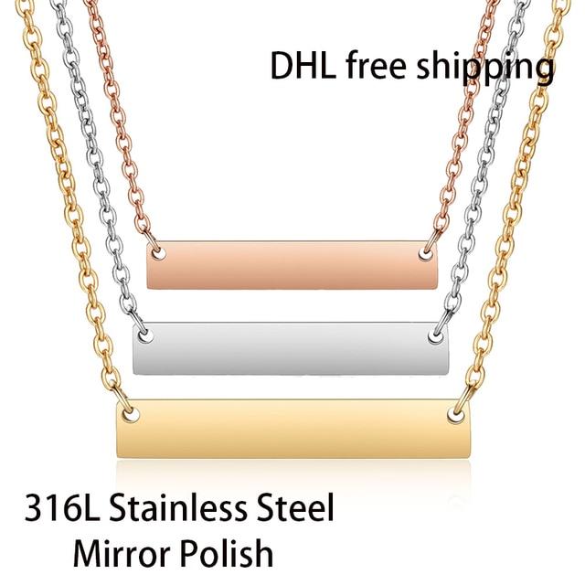 DHL Frete Grátis 300 pçs/lote 316L Espelho Polonês de Aço Inoxidável Bar Colar de Moda Unissex Colar Gargantilha 45cm Comprimento 18 polegadas