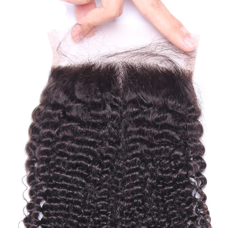 4X4 Brazilian Kinky Curly Silk Base Lace Closure 100% Human Hair Brazilian Remy Hair Natural Color Bleached Knots Brown Lace