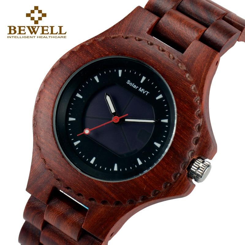 BEWELL Men s Watch Solar Sports Wooden Watch Male Wooden Watch Brand Design Summer Jewelry Fashion