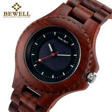 BEWELL Men's Watch Solar Sports Wooden Watch Male Wooden