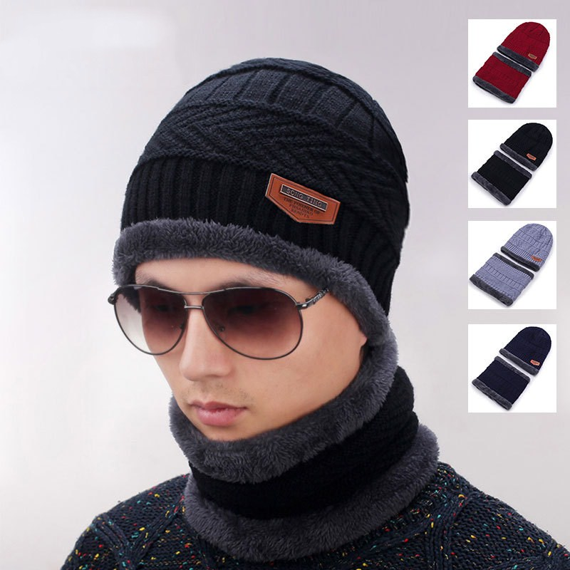 New fashionable winter hat for men and women knitted black hat autumn hat with thick and warm neck and   skullies     Beanies