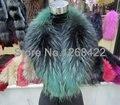 Compras libres 2014 winterThe nuevo de moda collares de piel grande de piel de mapache cuello chal bufanda de cuello de piel genuina multicolor