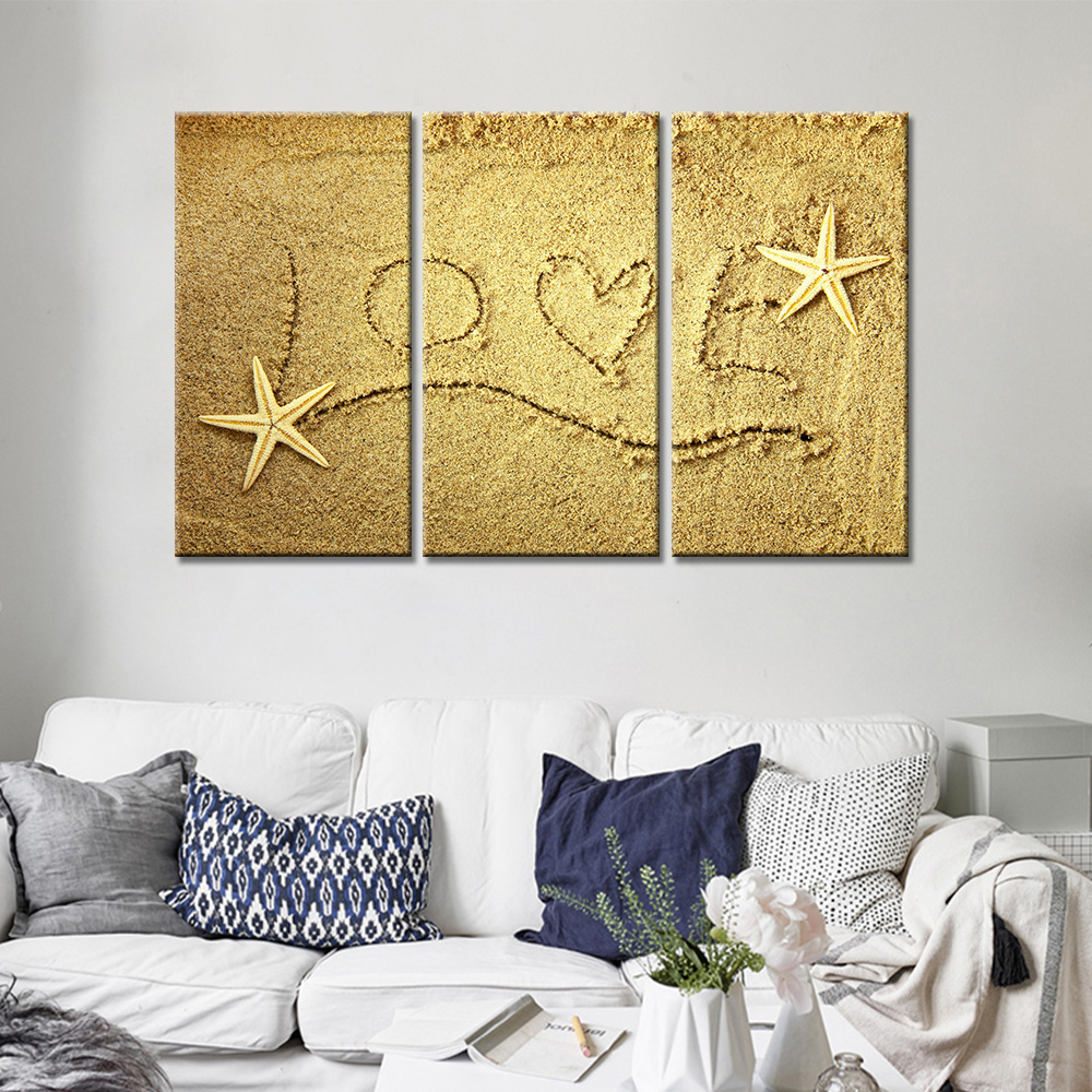 Drop Shipping 3 Pieces Canvas Wall Art Love On The Beach