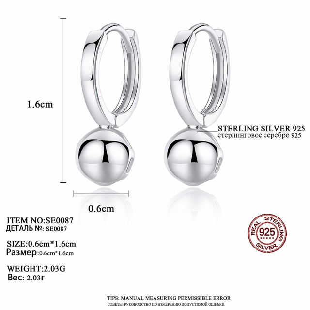 CZCITY Round 925 Silver Ball Hoop Earrings Real 925 Sterling Silver Vintage Ball Earrings for Women Trendy Jewelry Gift