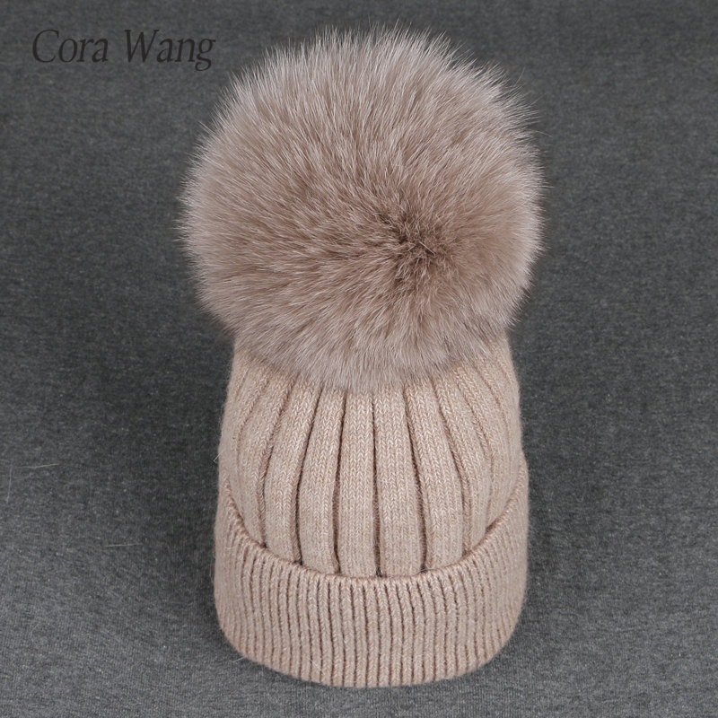 Fox Pompoms Hats for Women Solid Color Removable fur pompon ball wool knitted   skullies     beanies   Warm hat 2017 autumn winter hat