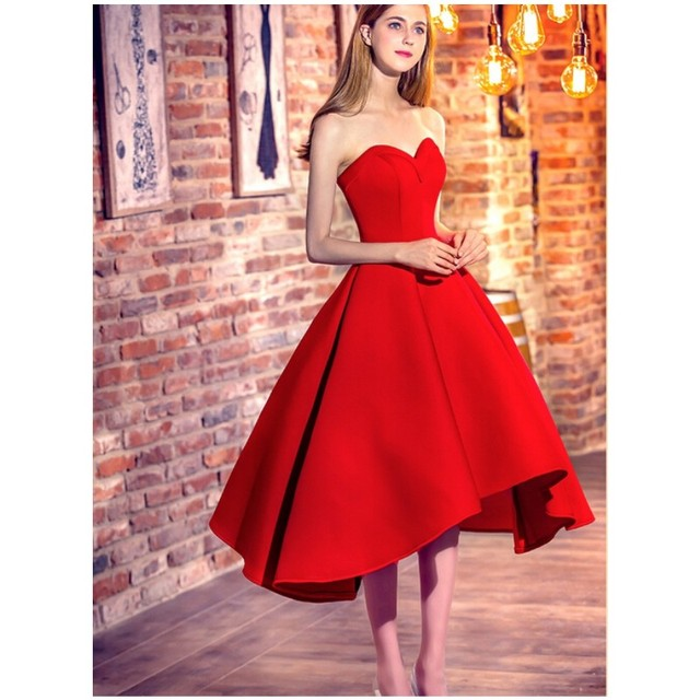 Sexy Hi-Lo Short Chic Sweetheart-Neck Cocktail-Dresses Red Satin Prom Party Dresses  Vestido De Festa Curto