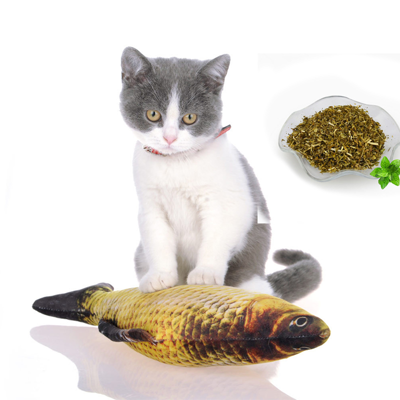 Voopet Catnip Fish Cat Toys - Realistic Fluffy Fish Kitty Interactive Chewings