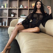 Sexy Slash Neck Mini Mesh Dress  Club Women Solid Flare Sleeve Ruffle Transparent Casual Beach Bandage Dresses
