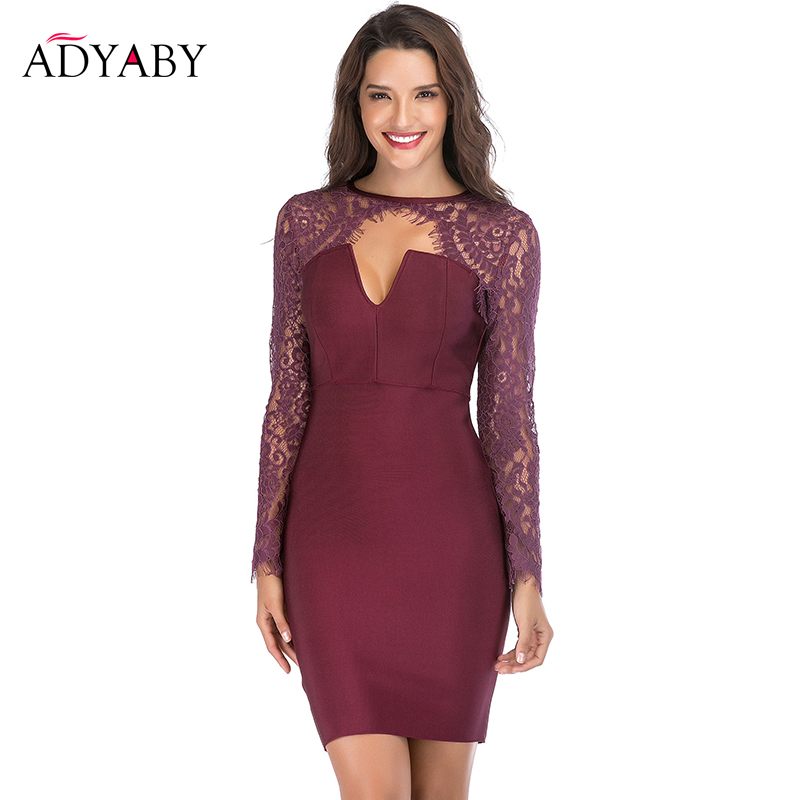 Crochet dentelle robe de soirée 2019 automne nouveauté Sexy Club Bandage Mini robe rouge mode moulante gaine robes pour les femmes