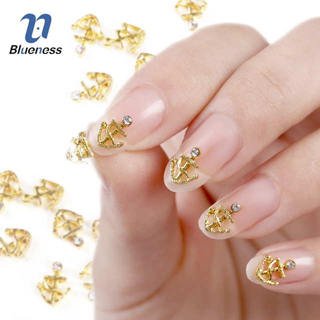 10pc Golden Alloy Glitter 3d Nail Art Anchor Decorations With