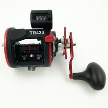 цена на TR430 bait casting reel drum wheel with line counter sea trolling reel big boat fishing reel metal spool BB 3+1 gear ratio 4.1:1