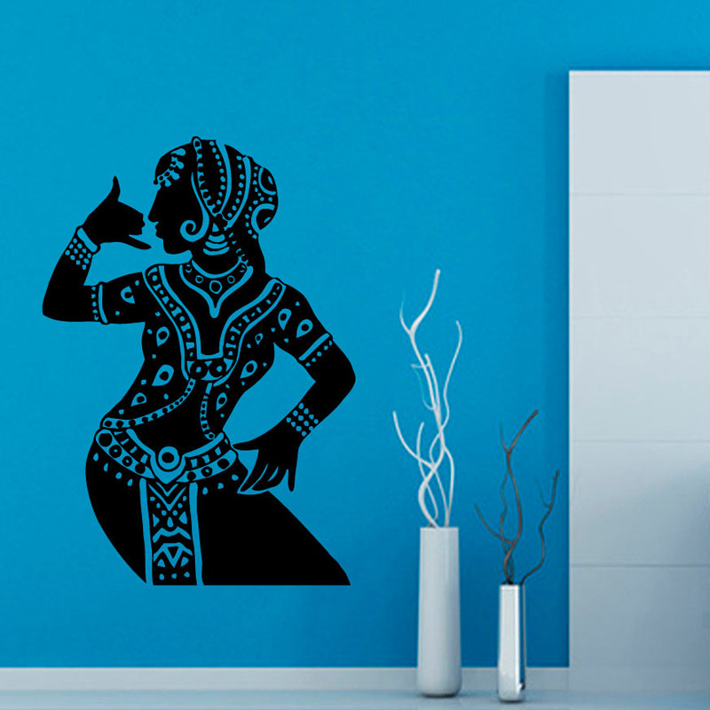 Wall Painting For Living Room India Home Paint Colors Indian Woman Buddha Dance Stickers Hinduism Decor Decals Vinyl Art Removable