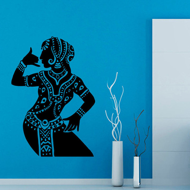 Indian Woman Buddha Dance Wall Stickers Hinduism Living Room Home Decor Decals Vinyl Art Removable