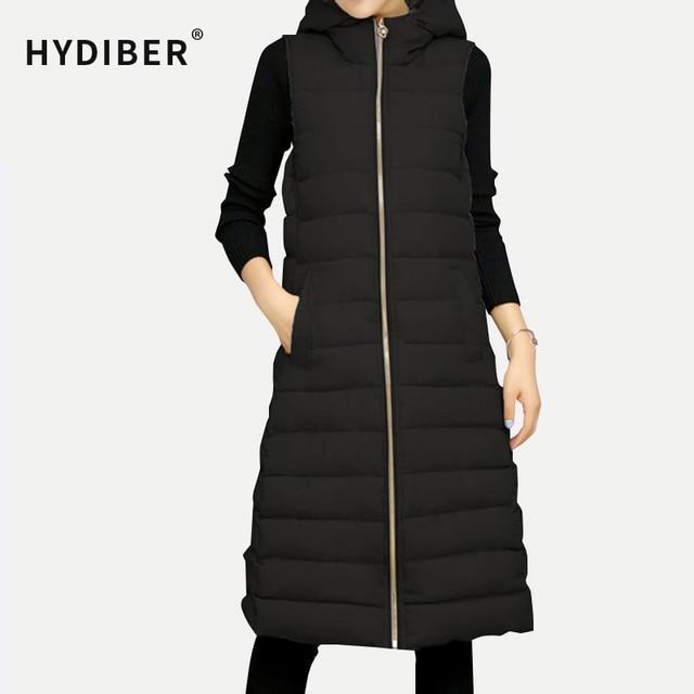 2016 Winter Sleeveless Long Black Jacket Women Solid Hooded Vest Slim Cotton Padded Coat Jackets Wadded Outerwear Plus Size