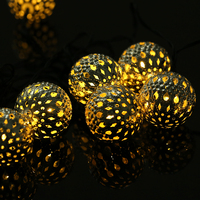 LED Moroccan Ball String Lights Solar Waterproof Outdoor Powered Christmas Halloween Decoration Wedding Party LED Solar